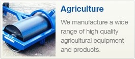 agriculture products, rollers, loader, tipping trailers.