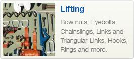 Bow nuts, Eyebolts, Chainslings, Links and Triangular Links, Hooks, Rings.